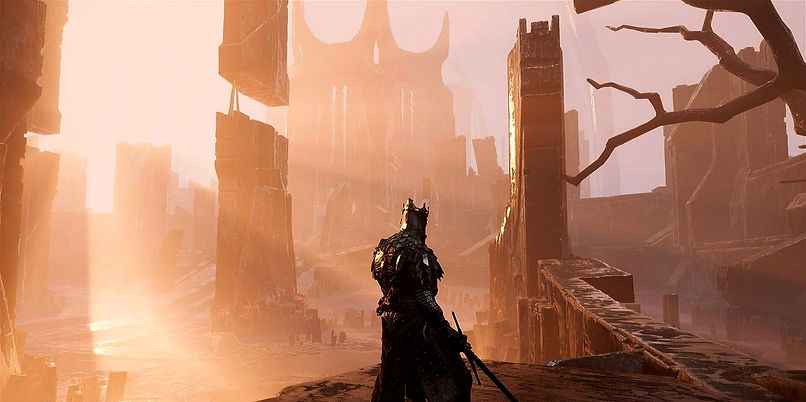 Beautiful area from the game Mortal Shell with incredible godrays in a gothic scenario
