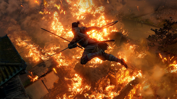 Main character from the game Sekiro jumping over flaming buildings