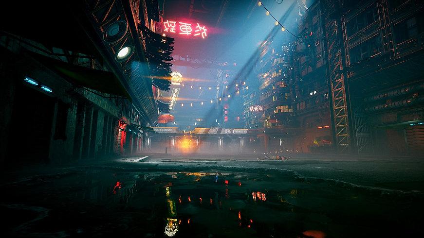 A futuristic street inside of a dystopian megastructure
