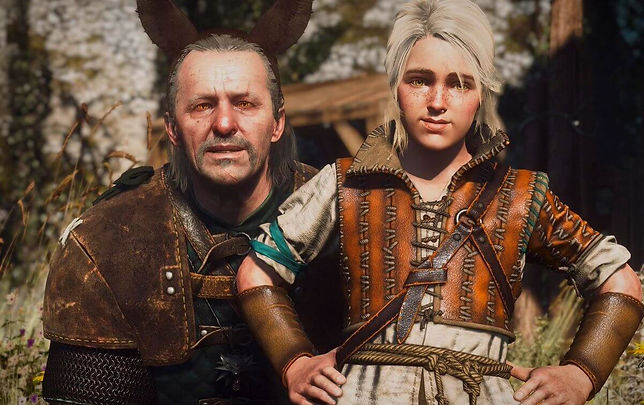 Old Witcher Vesemir and young Cirilla from the game The Witcher 3 posing together.