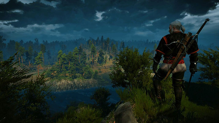Geralt, a character from the game The Witcher 3 watching the landscape with rivers a forest and dark clouds