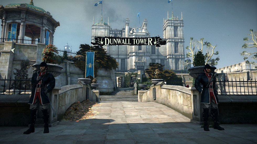 Two guardsmen guarding Dunwall Tower from the game Dishonored