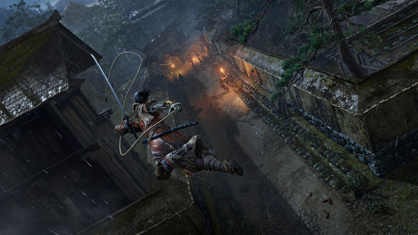 Main character from the game Sekiro: Shadows Die Twice jumping from a rooftop to a nearby wall
