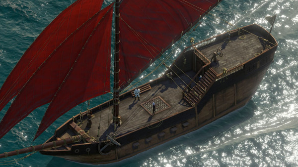 Pillars of Eternity 2 ship with red sails in a clear blue water ocean