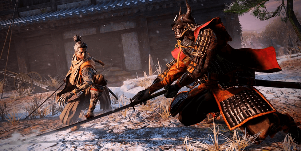 Sword fight in the game Sekiro: Shadows Die Twice