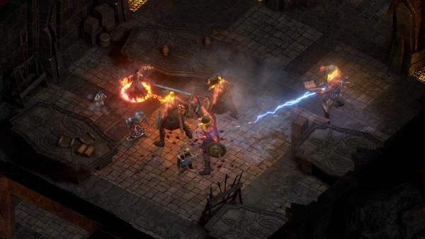 Pillars of Eternity 2 combat; fighting fire giants in a gloomy room