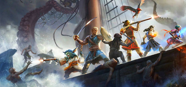 The cover image and loading screen of the game Pillars of Eternity that a fight is playing
