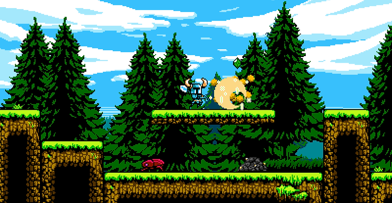 Shovel Knight diggin a pile of rubble containing treasures