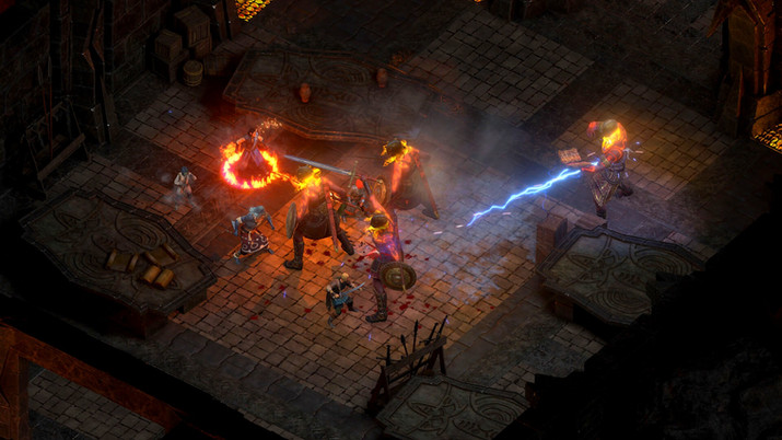 Pillars of Eternity 2 combat; fighting fire giants in a gloomy room