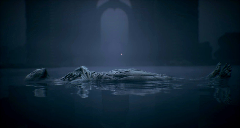 Mortal Shell fledgeling lying on the ground in a huge pool of water