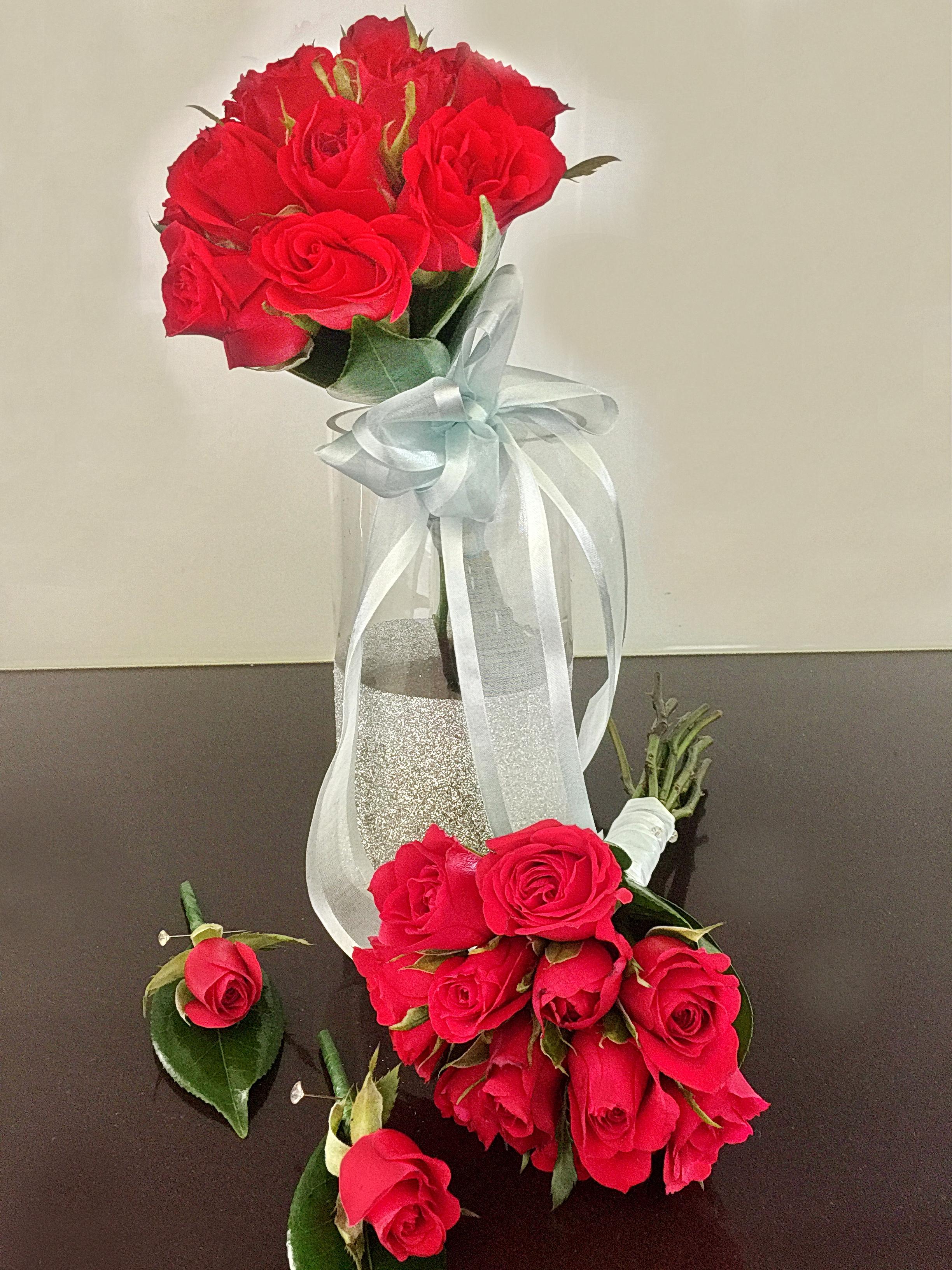 Red Rose Bridal Posy $110