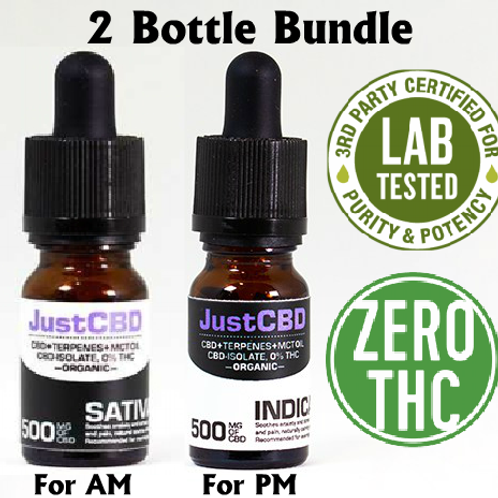 2 Bottles of 500mg CBD Just CBD Oil Broad Spectrum Sativa or Indica NO THC