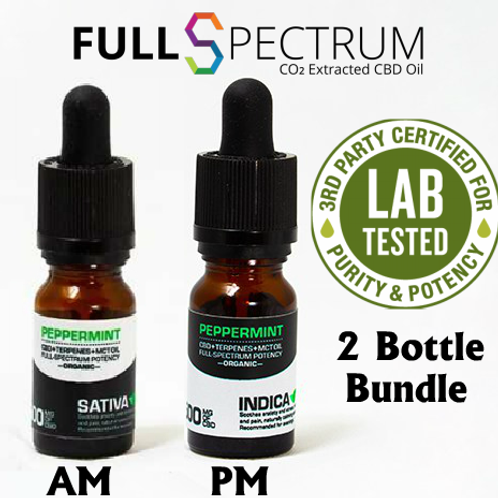 2 Bottles of CBD Oil 500mg Full Spectrum Peppermint – Sativa or Indica
