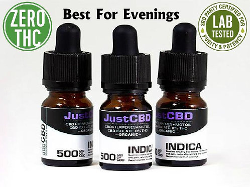 500mg Just CBD Oil Broad Spectrum Indica is Relaxing and Sedating NO THC