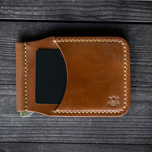 """Card holder with moneyclip """"Clap"""" SHELL CORDOVAN"""