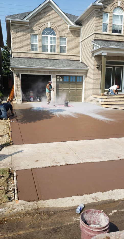 Stamped concrete in progress