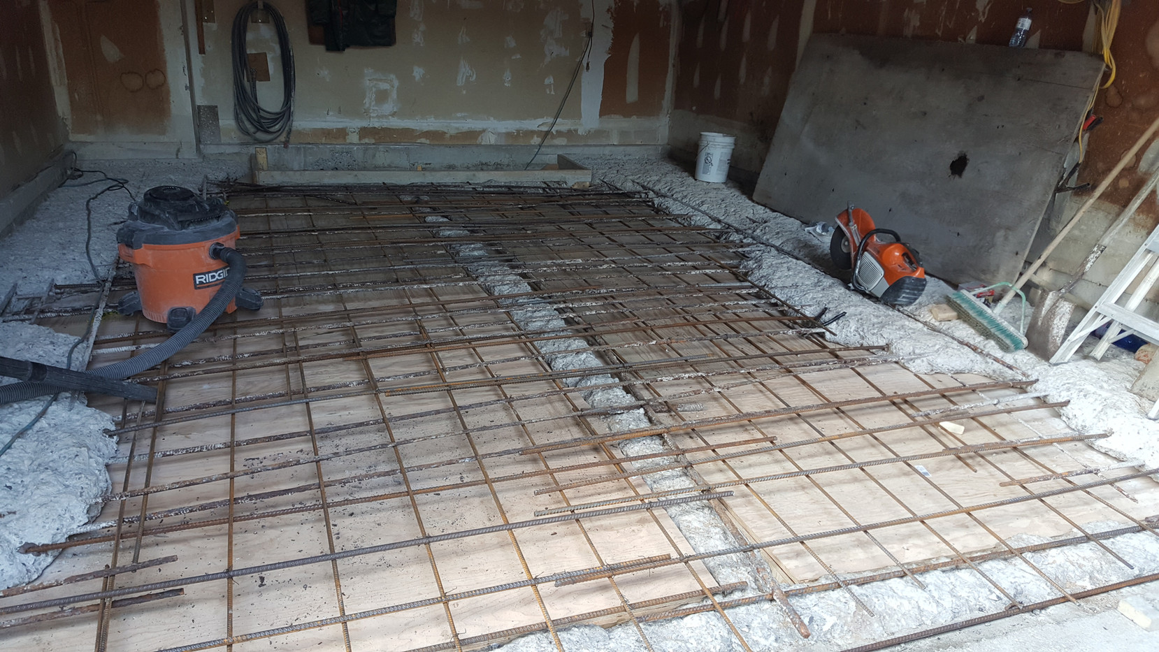 preparing for concrete pour