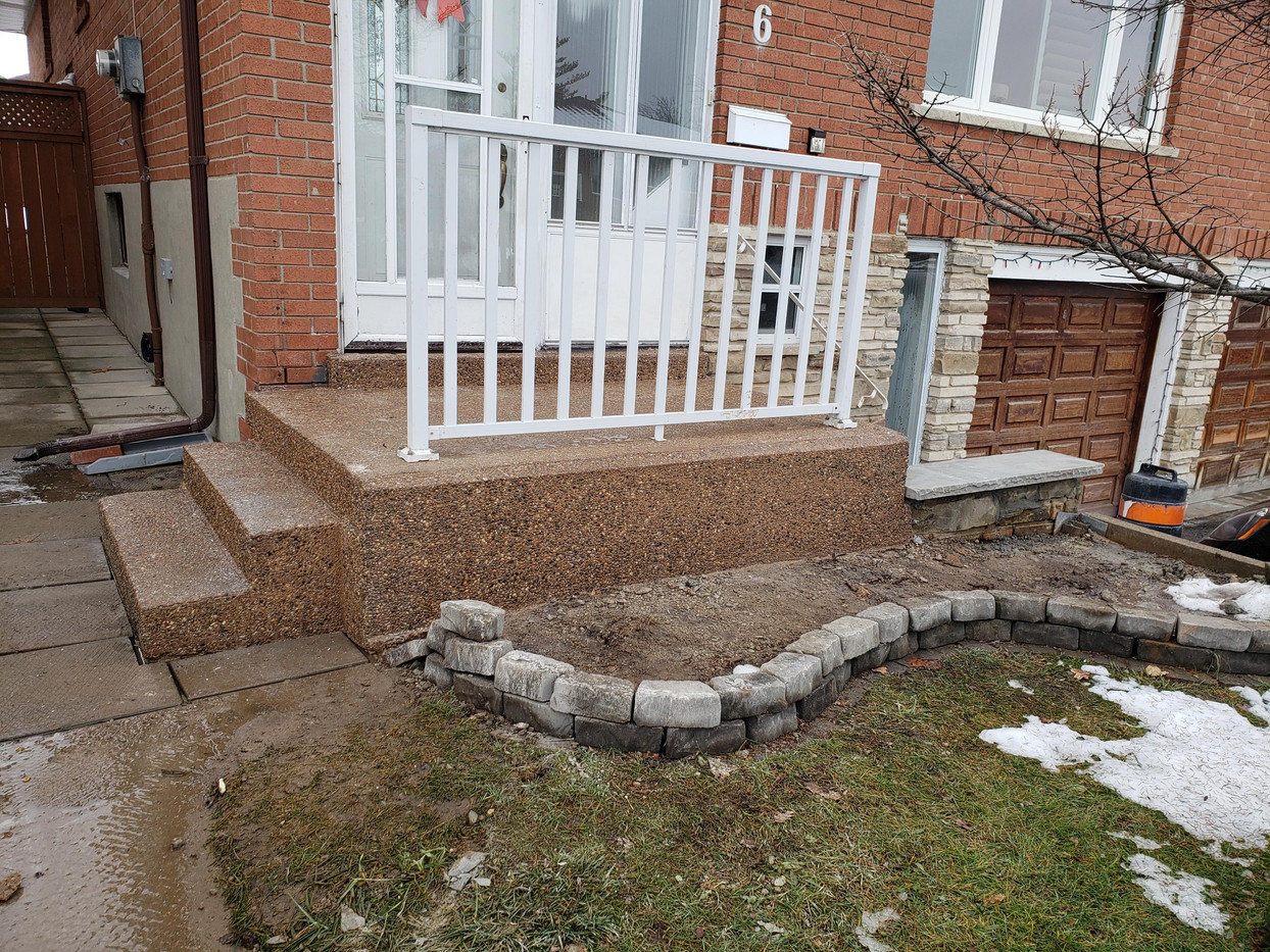 New exposed aggregate front entrance patio and steps