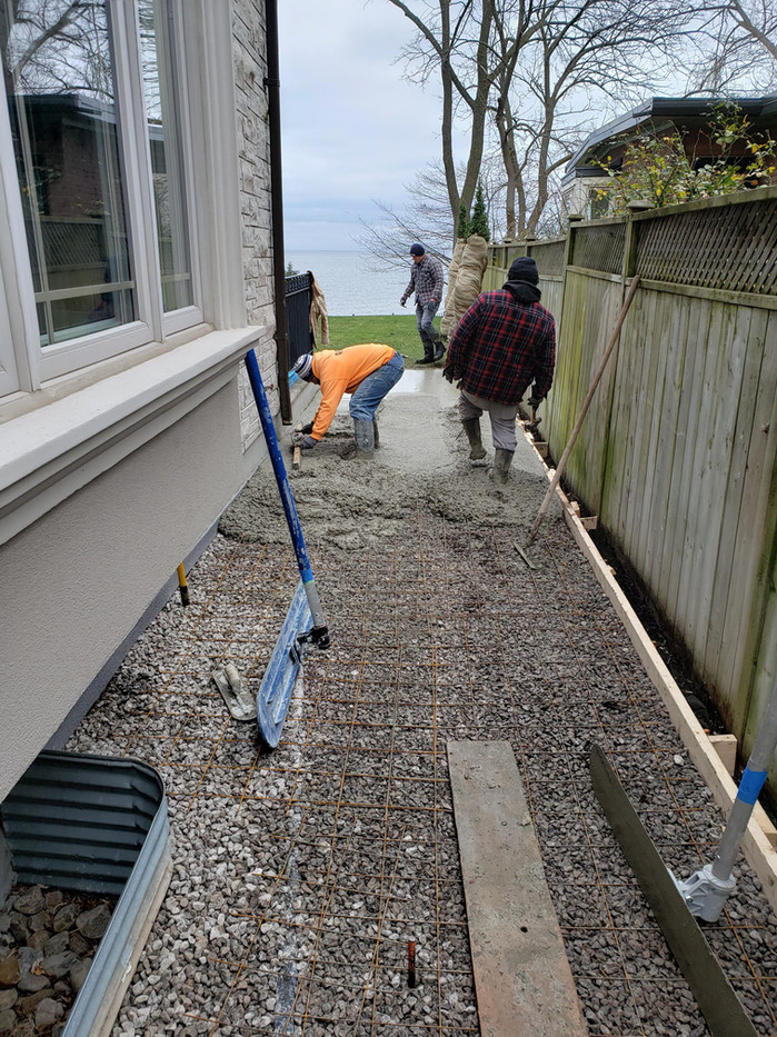 Concrete pour for new walkway