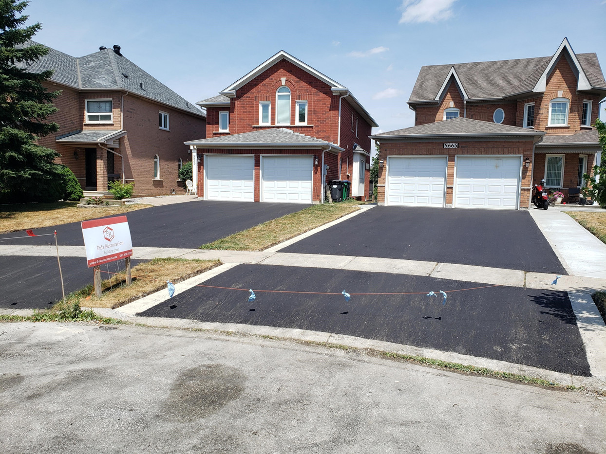 New driveways and concrete walkway