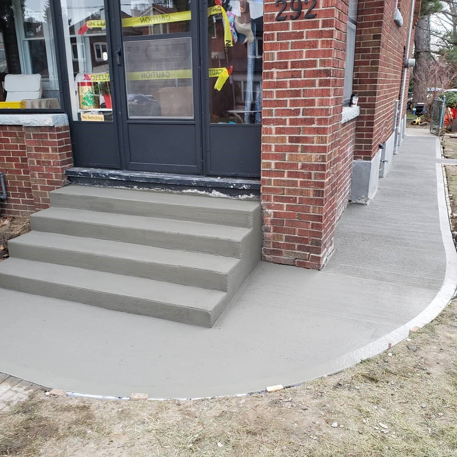 New steps and walkway pour concurrently