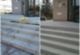 Concrete steps before and after. Concrete repair. Craked concrete