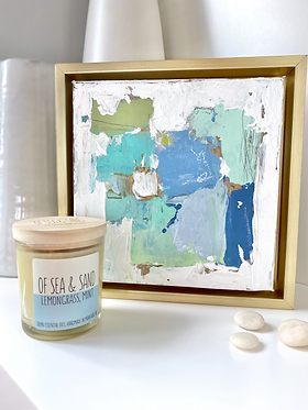 auction item #3: abstract painting and candle