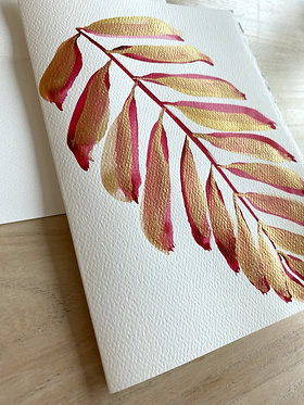 rose gilded palm note cards