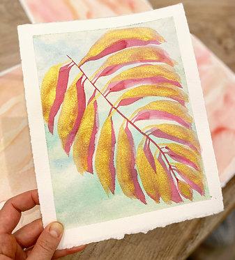 gilded palm leaf in rosè   8 x 10