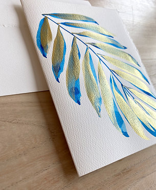colbalt gilded palm note cards
