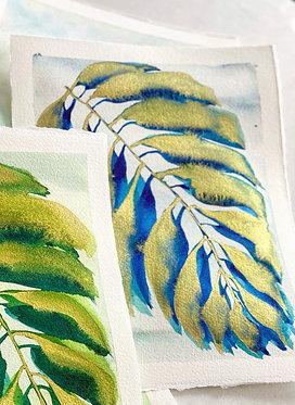 gilded palm in colbalt blue | 8 x 10