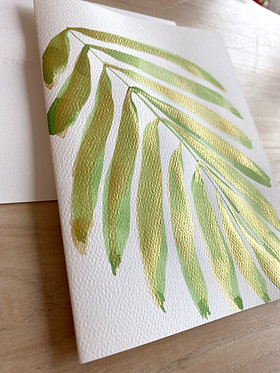 vert gilded palm note cards