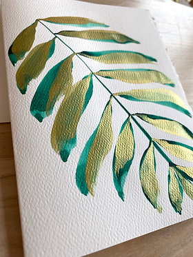 emerald gilded palm note cards