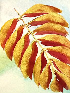 gilded palm leaf in crimson | 8 x 10