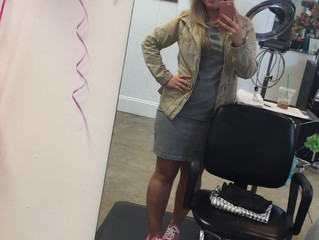 Angela Taylor of Bangz Hair Salon and Spa Rockin' her pink Cons for Mike's Day