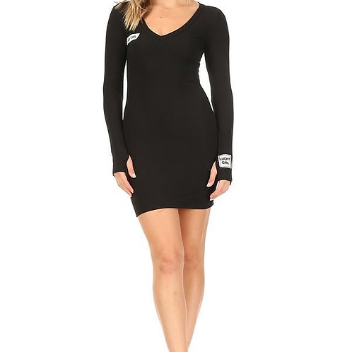 Luck label one-piece black dress