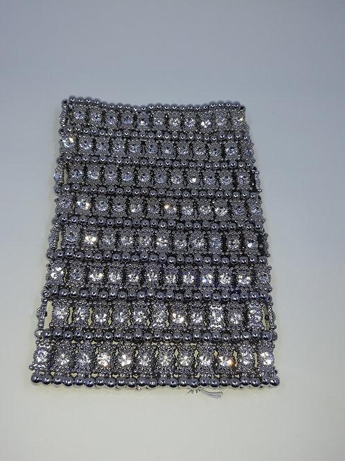 Silver rhinestone gladiator bracelet