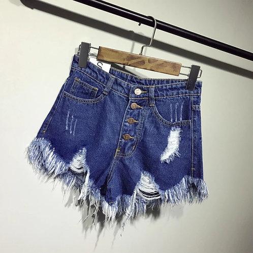 Blue denim ripped short shorts