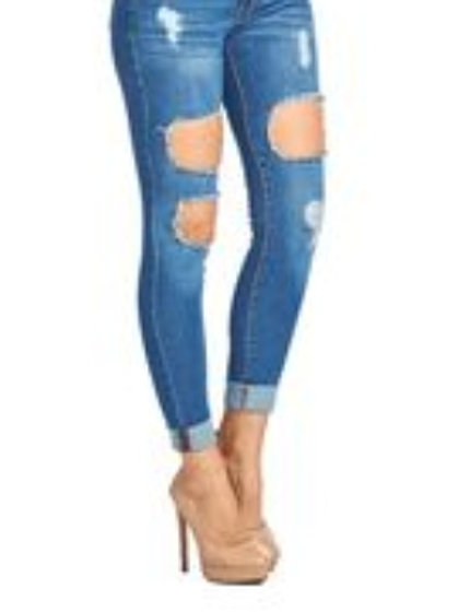Vintage Skinny  ripped  blue jeans