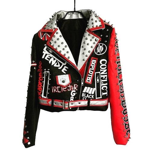 Red spike pu leather jackets
