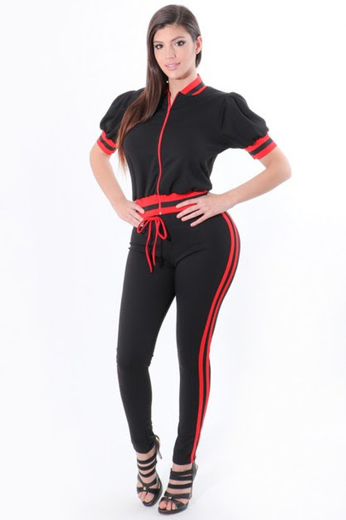 Red and Black Two piece Fashion Jogger