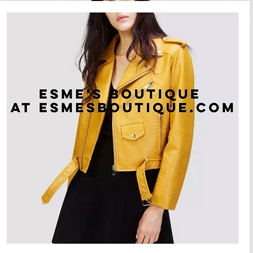 Mustard yellow faux motto jacket