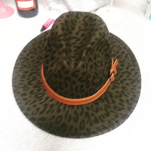 Olive Leopard print wide brim girl jazz hat