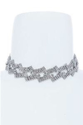 Silver crystal necklace choker