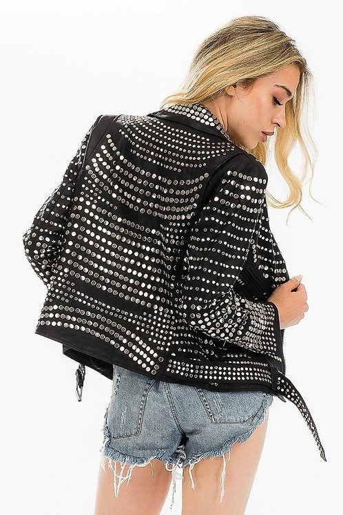 Black statement studded faux leather jackets