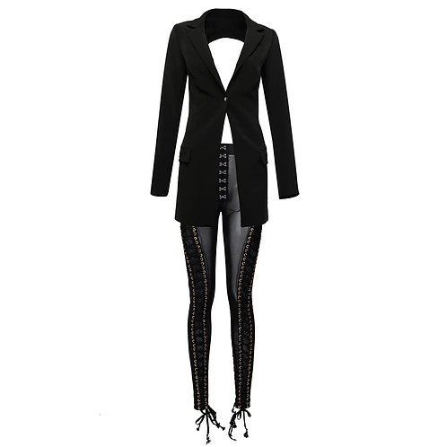 Two piece long Sleeve cut out jacket and mesh pants