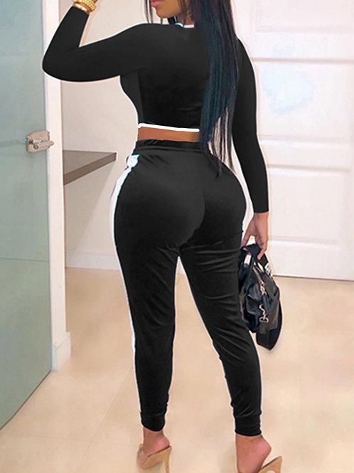 Sports wear Two piece black draw string set