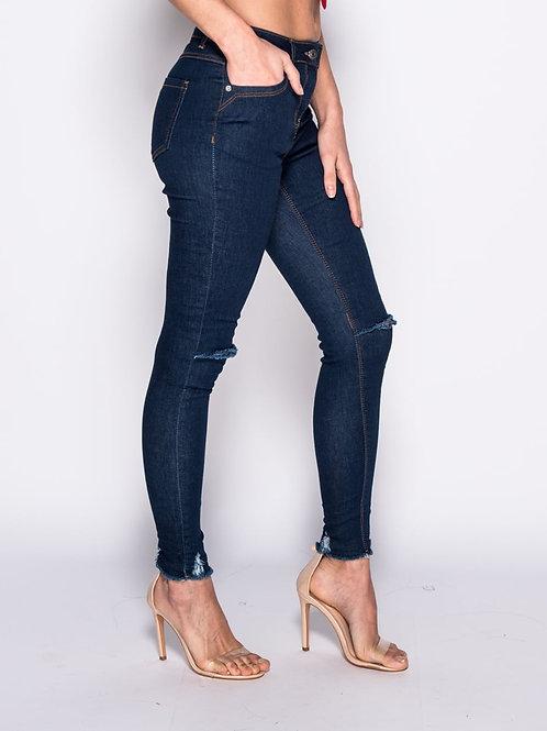 Indigo Mid Rise slash jeans