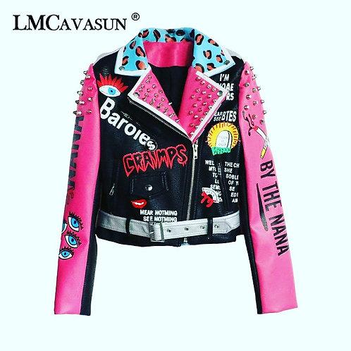 Pu pink punk jackets