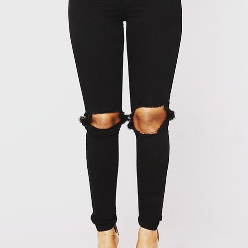 Ripped Knee Black Jeans